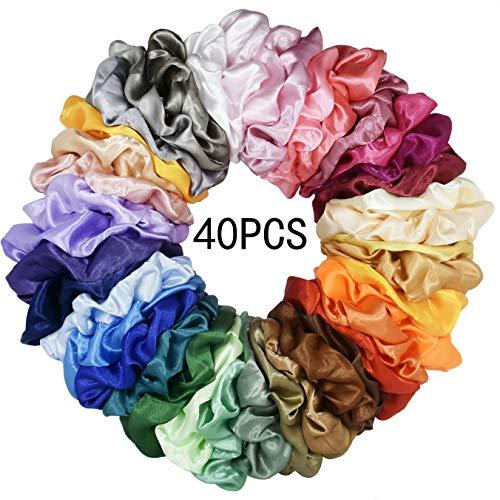 Mcupper 40 Pcs Hair Silk Scrunchies Satin Elastic Hair Bands Scrunchy Hair Ties Ropes Scrunchie for Women Girls Hair Accessories - 40 Assorted Colors - Satin School