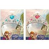 Diadème de princesse officiel du film Disney de la Reine des neiges pour enfant couleur argent avec un bijou en son centre à l'effigie d'Elsa - Bleu où Rose