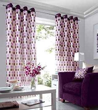 Purple / Pink/ Sand, Cream Lined Voile Curtains Eyelet Heading 56 ...