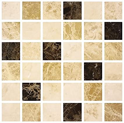 ideas de baño marrón y crema Lps Pack Of 10 Marrn Caf Crema Efecto De Piedra Mrmol