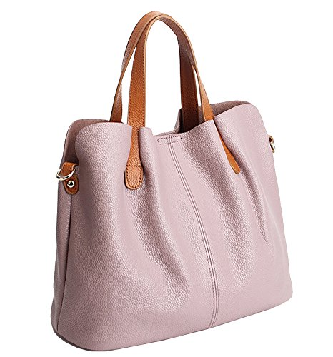 Molodo Womens Satchel Hobo Top Handle Tote Geuine Leather Handbag Shoulder Purse (Pink) Zippered Faux Leather Purse