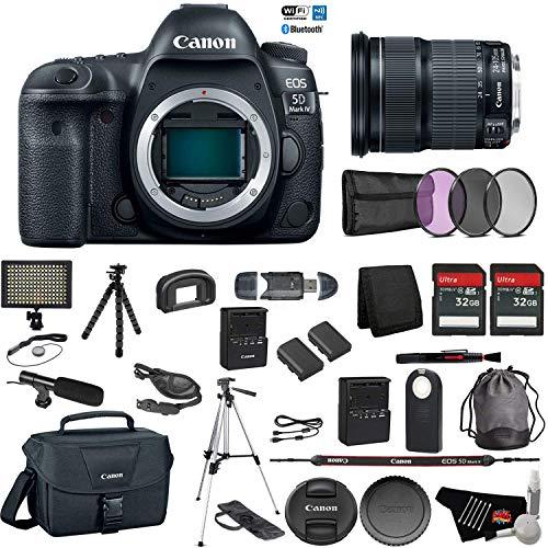 Canon EOS 5D Mark IV Full Frame DSLR Camera Body - Bundle with Canon EF 24-105mm f/3.5-5.6 is STM Lens + Microphone + Screen Protectors + LED Light + 2X 32GB Memory Cards (International Version) (Best Entry Level Full Frame Dslr)