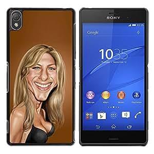 Sarah Anniston Marrón Caricatura Película- Metal de aluminio y de plástico duro Caja del teléfono - Negro - Sony Xperia Z3