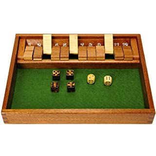 Deluxe Games and Puzzles Shut The Box Wood Game with 12 Flaps _Plus Bonus 4 Bronze Swirl Dice
