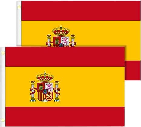 TIMESETL Bandera España Grande 2pcs Bandera de España, Resistente a la Intemperie, 90 x 150 cm: Amazon.es: Jardín