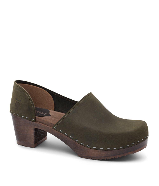 Sandgrens Swedish High Heel Wooden Clog Mules for Women | Brett in Olive, size US 7 EU 37 by Sandgrens
