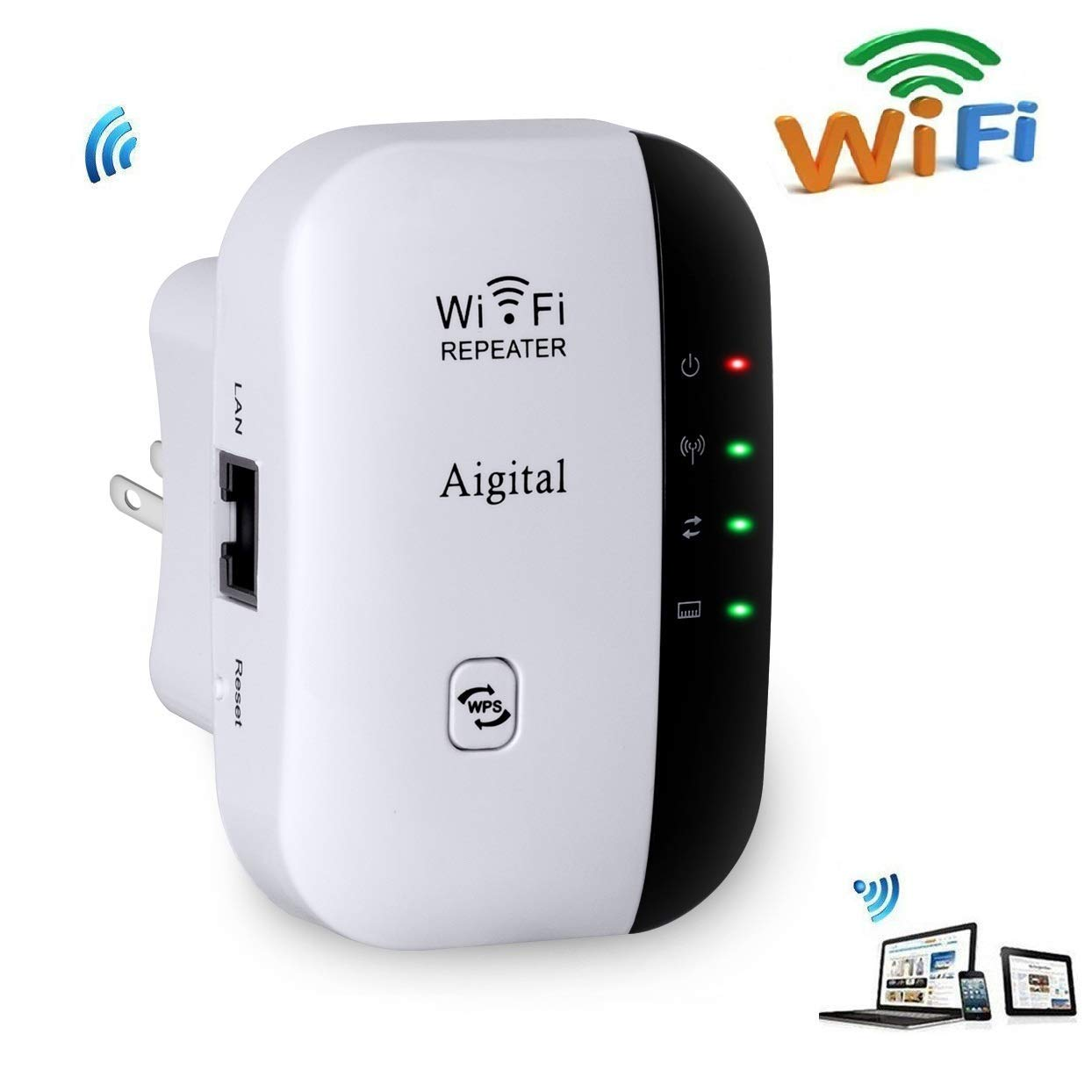 Aigital WiFi Extender 300 Mbps Wireless Repeater Internet Signal Range Booster Adapter, Easy Setup WLAN Network Amplifier Access Point Dongle WiFi Blast - 2.4GHz WPS Function New Chip by Aigital