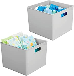 "mDesign Plastic Home Storage Organizer Bin for Cube Furniture Shelving in Office, Entryway, Closet, Cabinet, Bedroom, Laundry Room, Nursery, Kids Toy Room - 10"" x 10"" x 7.5"" - 2 Pack - Gray"