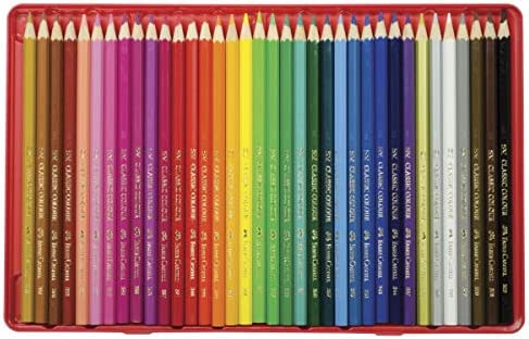 Faber-Castell 115888 - Estuche de metal con 48 lápices de colores, 2 ecolápices de grafito, goma de borrar y afilalápices, multicolor: Amazon.es: Juguetes y juegos
