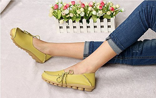 Maybest Women Work Comfort Leather Lace-Up Loafer Flats Pumps Apple Green 5i2ENalbZ