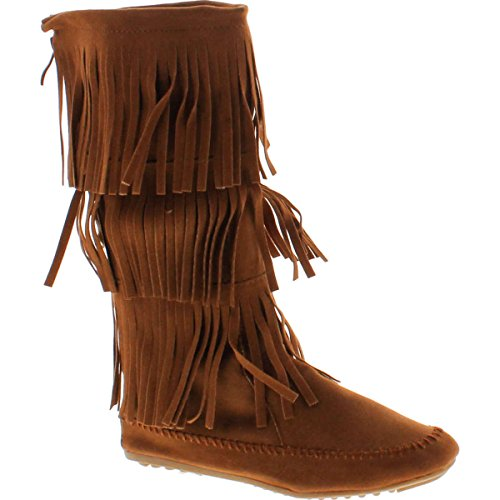 Nature Breeze Womens Cherokee-03 Fringe Mocassin Faux Suede Boots,Tan,8