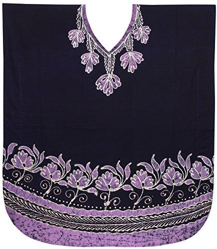LA LEELA Cotton Batik Short Caftan Tunic Top Women Brown_3854 OSFM 10-18W [M-2X] by LA LEELA