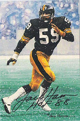 Jack Ham Autographed Pittsburgh Steelers Goal Line Art Card HOF 88 Black 11535 - NFL Autographed Football Cards