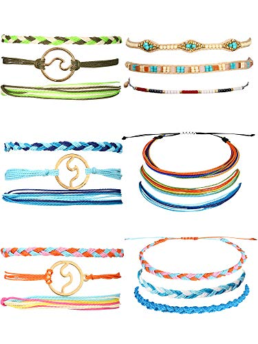 Trounistro 18 Pieces Wave Strand Bracelet Set Braided Rope Bracelet Multicolor Variety String Bracelet Collection for Women Men Kids (Style 2) ()
