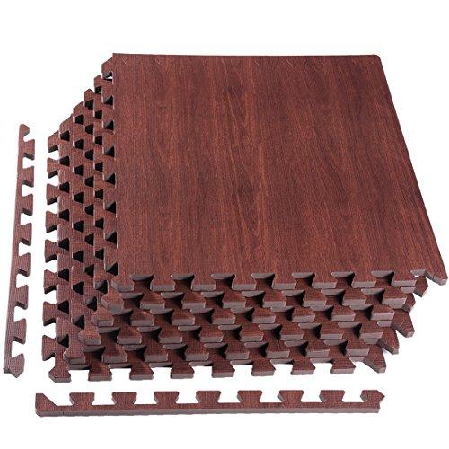 "[Upgrade] 6 Tiles Foam Mats, Superjare Extra Thick (9/16"") Interlocking Tiles, Protective Flooring Mat Dark Wood Grain"