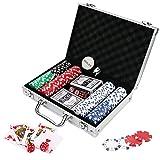 Doublefan Poker Chips Set, Heavy Duty 11.5 Gram Clay Poker Chips Set Texas Holdem Blackjack Gambling Chips Aluminum Case, Set of 200 Chips