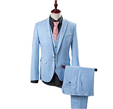 Leader of the Beauty Men Bridegroom Suit Slim Fit Blue Tuxedo Prom ...