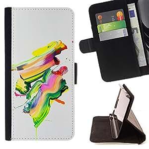 Stuss Case / Funda Carcasa PU de Cuero - Pintura colorida del arte abstracto moderno de la pintura del cepillo - HTC One A9