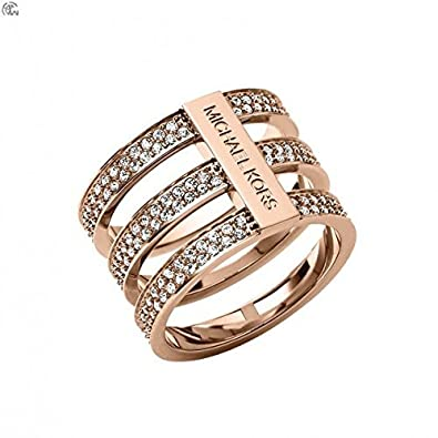 14654e614a15 Amazon.com  Michael Kors Mkj3781 Rose Gold Tiered Crystal Pave Ring ...