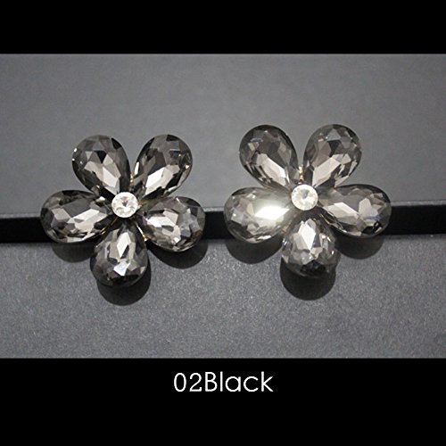 YOUNGFLY Crystal Flower Clip for Car Air Conditioning Vent Decoration Decal, Black ()