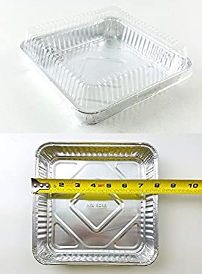 "Handi-Foil of America 8"" x 8"" Square Aluminum Foil Cake Pan w/Clear Dome Lid 50 Sets - Disposable Pans (pack of 50)"