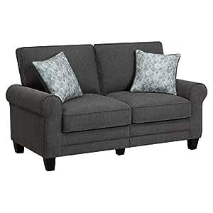 "Serta RTA Somerset Collection, 61"" Fabric Loveseat Sofa in Steeple Gray"