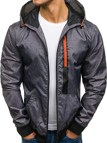 Men's Zip Mix Outdoor Casual 4D4 hy193 Sport Hood BOLF Transitional Plain Jacket Ribbed Graphite Military 1wWTdXq
