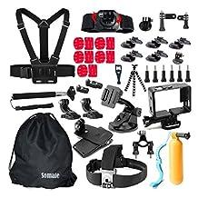 Accessories 46 in 1 Kit Bundles for Gopro Hero 5 Session 4+ 3 2 1 Silver Black; Xiaomi Yi; SJCAM SJ4000 SJ5000 SJ6000 Pictek GooBang Doo Action camera