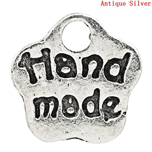 JGFinds 200 Pc Silver Tone Handmade Label Flower Pendants, Small 8x8mm – Findings, DIY Crafts, Jewelry Making, Charms