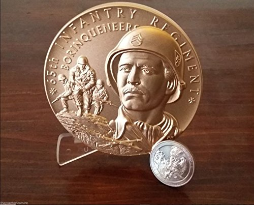 Official 65 INFANTRY REGIMENT BORINQUENEERS Huge 76.5MM / 3 INCHES / 8 OZ BRONZE Medal PUERTO RICO (Medal Coin Bronze)