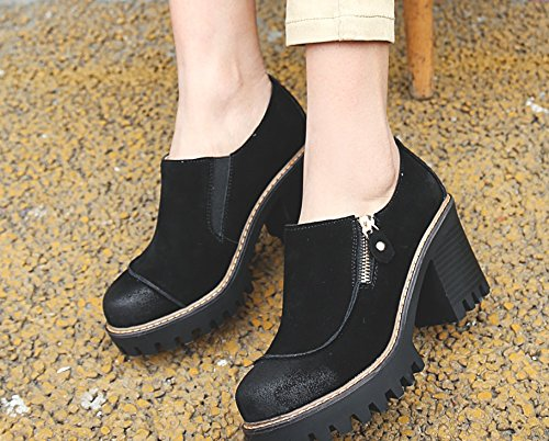 Carolbar Womens Retro Vintage Zip Platform Oxfords Ankle Boots Black vd5ns