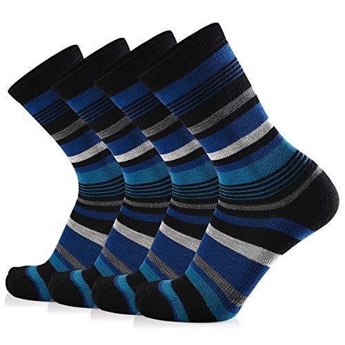 Journow Women's Extra Warm Merino Wool Micro Crew Cushion Socks 4 Pairs (9-11, Black Blue Stripe)