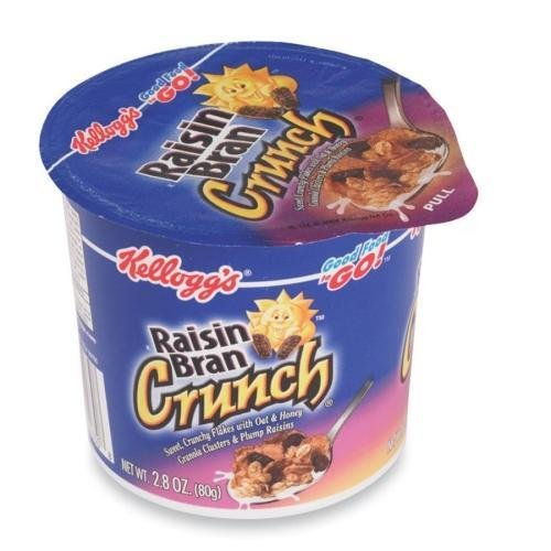 1474 Kellogg's Raisin Bran in a Cup Cereal - Plump Raisins, Crunchy Flakes, Honey Touched Oat, Granola Clusters - Cup - 6 / Box