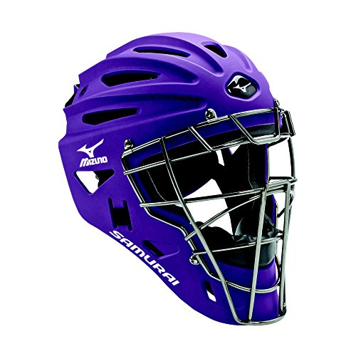 Mizuno Youth G4 Samurai Catcher's Helmet, Purple (Purple Catchers Helmet)