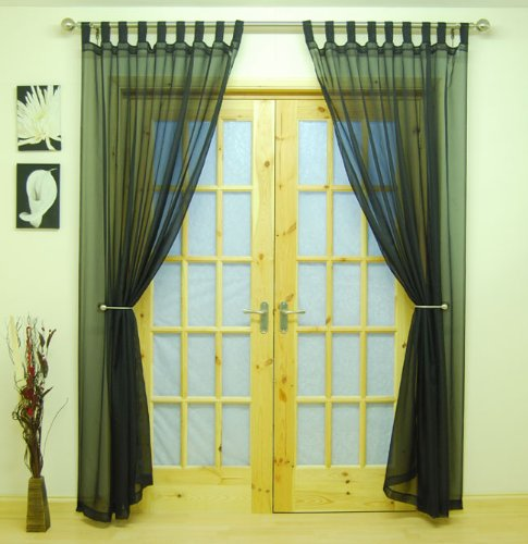 (Black Woven Voile Tab Top Panel. Buy One Panel Get One Free. 58 Wide x 81 Drop. by The Textile House)