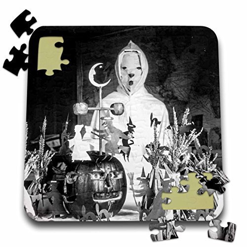 Scenes from the Past Ephemera - Vintage Halloween Creepy Ghoul Wizard in His Laboratory Early 1900s - 10x10 Inch Puzzle (pzl_269794_2) ()