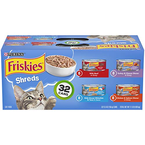 - Purina Friskies Gravy Wet Cat Food Variety Pack; Savory Shreds - (32) 5.5 oz. Cans