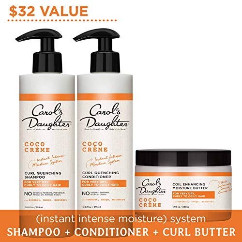 Curly Hair Products Gift Set by Carol's Daughter, Coco Creme Sulfate Free Shampoo and Conditioner Set with Silicone Free Hair Butter, for Very Dry Curly Hair, with Coconut Oil and Mango Butter