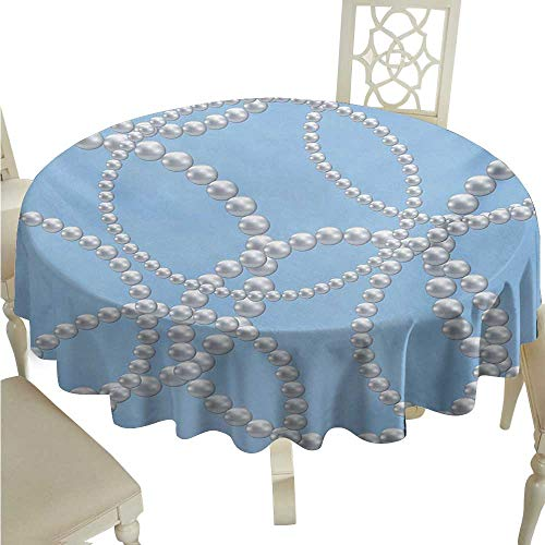 cordii Pearls Flow Spillproof Fabric Tablecloth Pearl Necklace Bracelet Classic Women Bridal Groom Shower Theme Feminine Art Great for Buffet Table D60 Baby Blue White