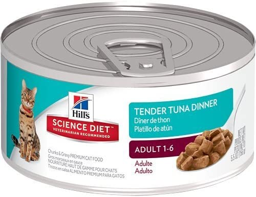 Hill's Science Diet Adult Tender Tuna Dinner Chunks and Gravy Cat Food Can