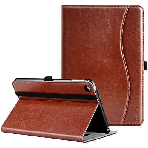 Ztotop iPad Mini 4 Case, Premium Leather Folio Stand Protective Case Smart Cover with Multi-Angle Viewing, Paperwork Card Pocket, Functional Elastic Strap for Apple iPad Mini 4 - Brown (Cover Stand Case Protective)