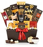 GiftTree Deluxe Thank You Gift - Thank You Mug with Gourmet Coffee, Chocolate, Candies, and Snacks in Stylish Leather Gift Basket - Delicious Gift for Coffee and Chocolate Lovers