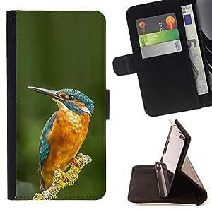 - tropical bird yellow blue green branch - - Prima caja de la PU billetera de cuero con ranuras para tarjetas, efectivo desmontable correa para l Funny HouseFOR Samsung Galaxy A3
