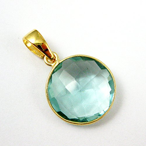 Bezel Gem Pendant with Bail - Aqua Quartz - 22K Gold plated Vermeil Round Coin Faceted Gemstone Pendant-24mm