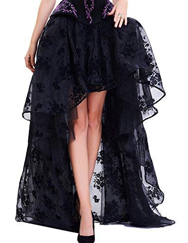 Cotton Sateen Pencil Skirt - Kimikal Gothic Steampunk Long Sateen Corset Skirt (X-Large, Black 3)