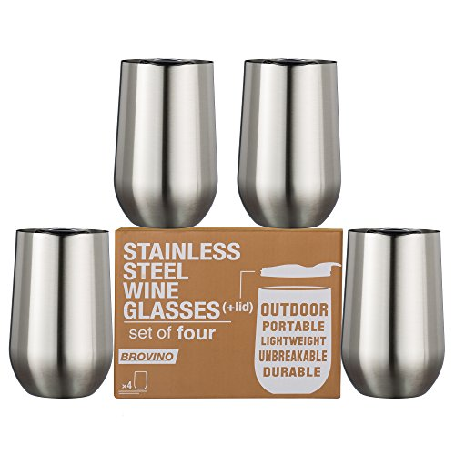 Large Stainless Steel Wine Glasses With Lid   Set Of 4   17 Oz Double Walled Insulated Outdoor Wine Tumblers   100  Unbreakable   Stemless Glass   Drinkware Set For  Wine  Coffee  Water