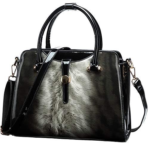 Womens Patent Leather Satchel Handbags (Black)