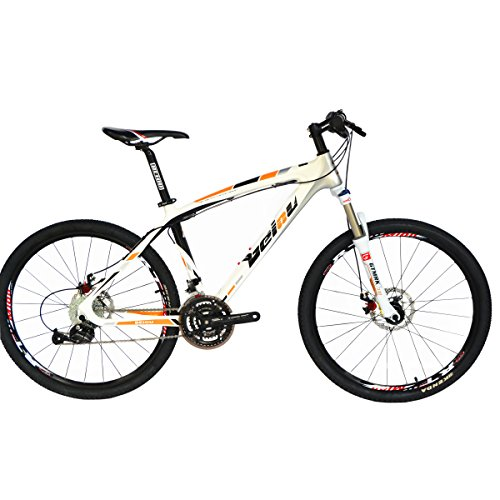 BEIOU Toray T700 Carbon Fiber Mountain Bike Complete Bicycle MTB 27 Speed 26-Inch Wheel with shi Mano 370 CB004B17X (White Orange, 17-Inch)