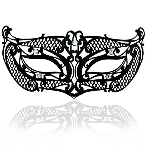 Carnival Masquerade Mask - FaceWood Masquerade Mask for Women Ultralight Metal Mask Shiny Rhinestone Venetian Pretty Party Evening Prom Ball Mask.(20)