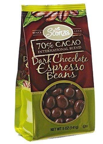 Sconza 70% Cacao Dark Chocolate Covered Espresso Beans 5 Oz Bag